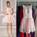 Cheap Tulle Pink Lace Edged Girl Dress sweet appliques short cocktail dresses Knee-Length prom dress party dresses short CKD-16