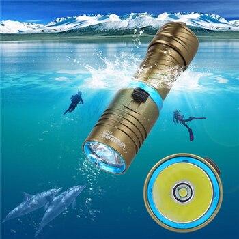 1200 лм Дайвинг фонарик факел XM-L T6 светодиодная подводная лампа Lanterna с 26650 перезаряжаемой батареей и зарядным устройством
