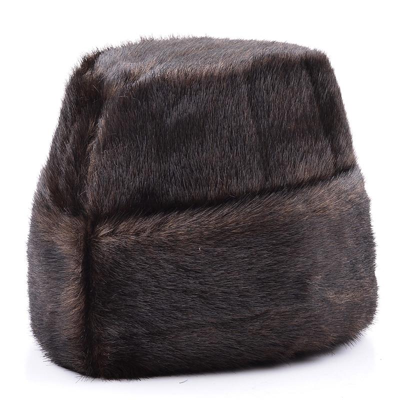 Male Autumn Solid Thicken Bomber Hats Man Winter Imitation Fur Caps Men Warm Protection Ear Cap Size:56cm-59cm