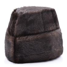Фотография Male Autumn Solid Thicken Bomber Hats Man Winter Imitation Fur Caps Men Warm Protection Ear Cap Size:58cm-60cm