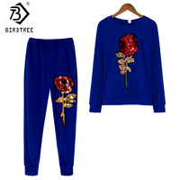 Jesień Koreański 2017 New Moda Codzienna kobiet Dres Bluzy Spodnie Szerokie Nogawki Luźne Pełna Rękaw Dwuczęściowy Zestaw Kobieta S78312A