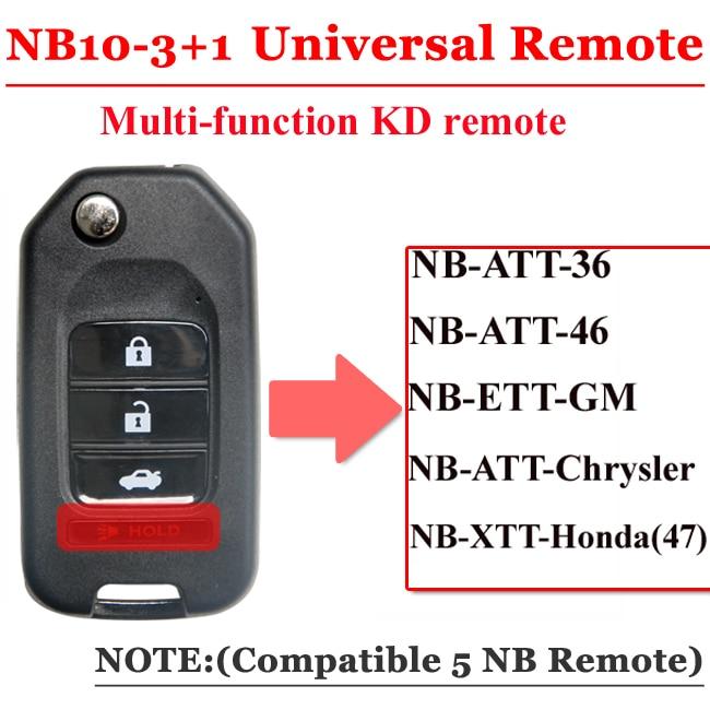 Free shipping (1 piece)NB10 Universal Multi-functional kd remote 3+1 button NB series key for KD900 URG200 remote Master free shipping 10 pcs lot metal blank uncut flip kd remote key blade type 50 for hyundai tucson