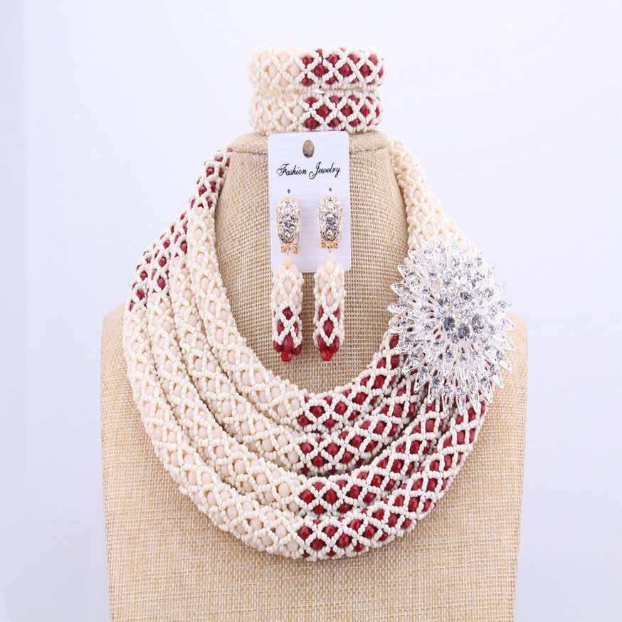 Delicate 2018 New Spring Bridal African Beads Jewelry Sets Red Ivory Jewellery Indian Women Necklace  Earrings Bracelet UK
