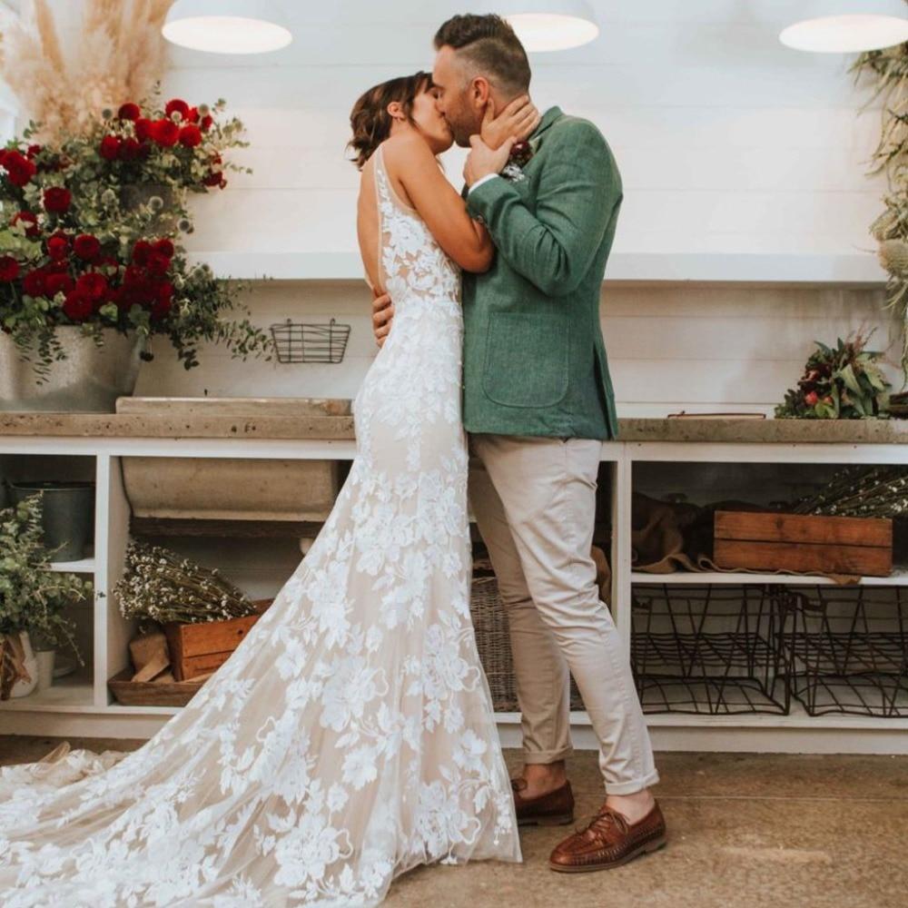 Eightale Lace Mermaid Wedding Dress 2019 V Neck Tulle Appliques Sexy Open Back Vestido De Noiva White Ivory Bride Dress