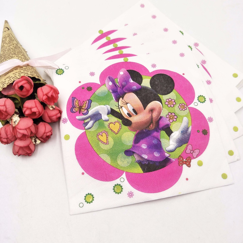 Birthday Party20pc/bag Cute Cartoon Minnie Mouse Party Supplies Paper Napki Decoration And Party Supplies For