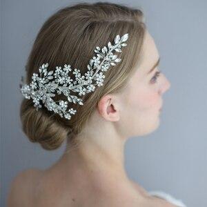 Image 2 - Повязка на голову со стразами, для свадьбы, аксессуары для волос, повязка на голову с цветами, венок из виноградных листьев, роскошный Кристальный ободок