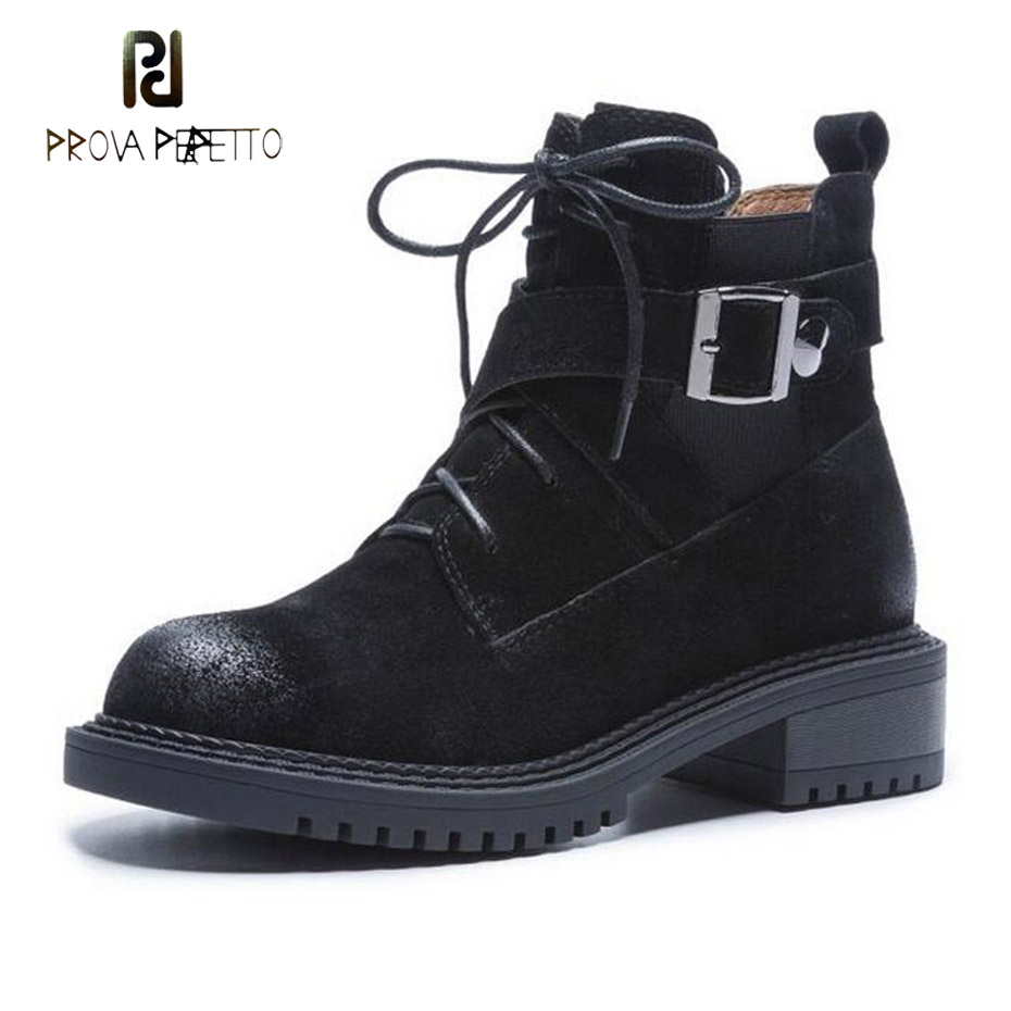 Prova Perfetto 2018 new punk gothic style lace up women short boots round toe genuine leather belt buckle motorcycle boots mujer prova perfetto 2018 newest genuine leather short boots women rivet belt strap platform flats knigh boots punk style boots female