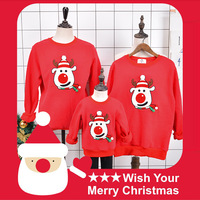 Family look winter cashmere christmas matching pajamas clothing hoodies father mother daughter son clothes father son outfits