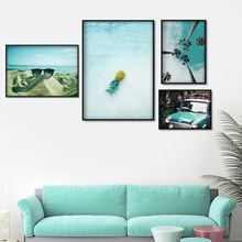 Pineapple Beach Car Coconut Tree Wall Art Canvas Painting Seascape Nordic Posters And Prints Wall Pictures For Living Room Decor цена и фото