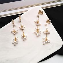 Korea New design metal gold and geometrical irregular pearl earrings long women girl Earrings for beach party geometry