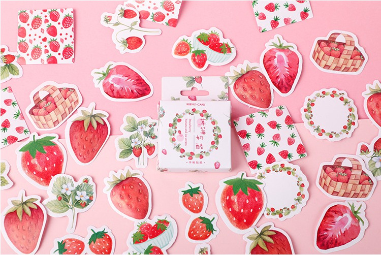 S2- Happy Strawberry Diy Decorative Stickers(1pack=45pieces)