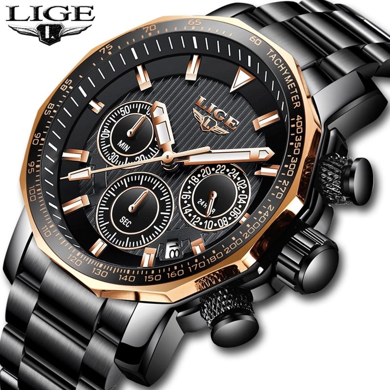 Relogio Masculino 2019 New Watch Men LIGE Mens Watches Top Brand Luxury Male Sport Quartz Clock Military Waterproof Chronograph