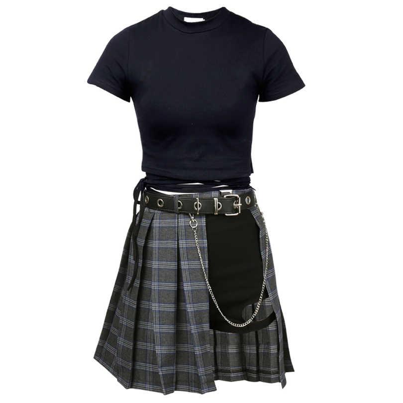 e7dbf1dc1 Harajuku estilo Punk Plaid irregulares faldas mujeres asimétricas de  cintura alta faldas plisadas chicas gótico media falda de moda