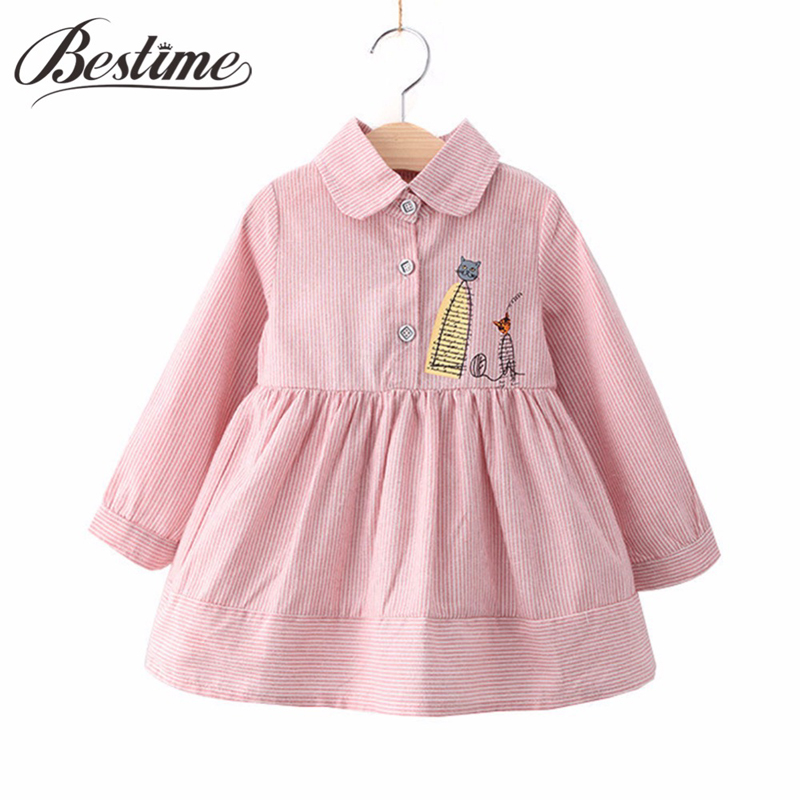 New Autumn Girl Dress Striped Cartoon Cat Kids Dress Cotton Long Sleeve Kitten Button Children Shirt Dress Fashion Girls Clothes fashion 2016 new autumn girls dress cartoon kids dresses long sleeve princess girl clothes for 2 7y children party striped dress