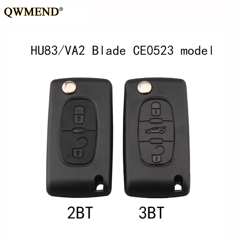 QWMEND 2 3 Buttons CE0523 Model Car Remote <font><b>key</b></font> shell Fob For <font><b>Peugeot</b></font> For Citroen HU83/VA2 optional NO logo image