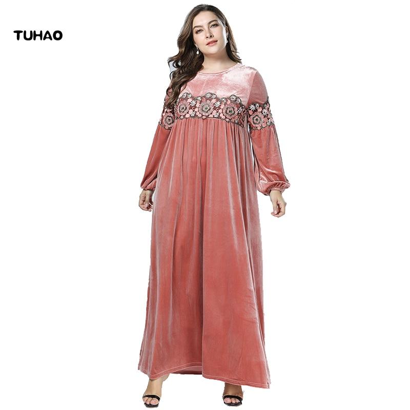 615449499471d TUHAO 4XL 3XL Plus Size Abayas Dresses for Women Winter Kaftan Velvet  Muslim Dress Women Robe Dubai Turkish Islamic Dress ZZL