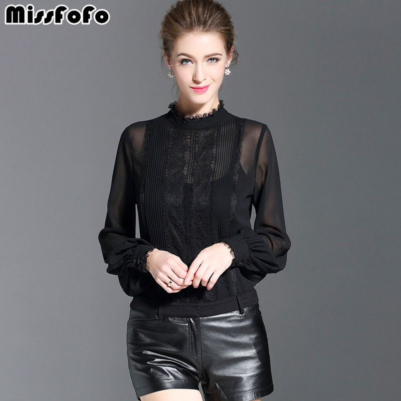 MissFoFo 2017 New Fashion Spring Regular Shirt Women Shirt Casual Blouse O-Neck Button Full Office Lady Black White Size S-XXL