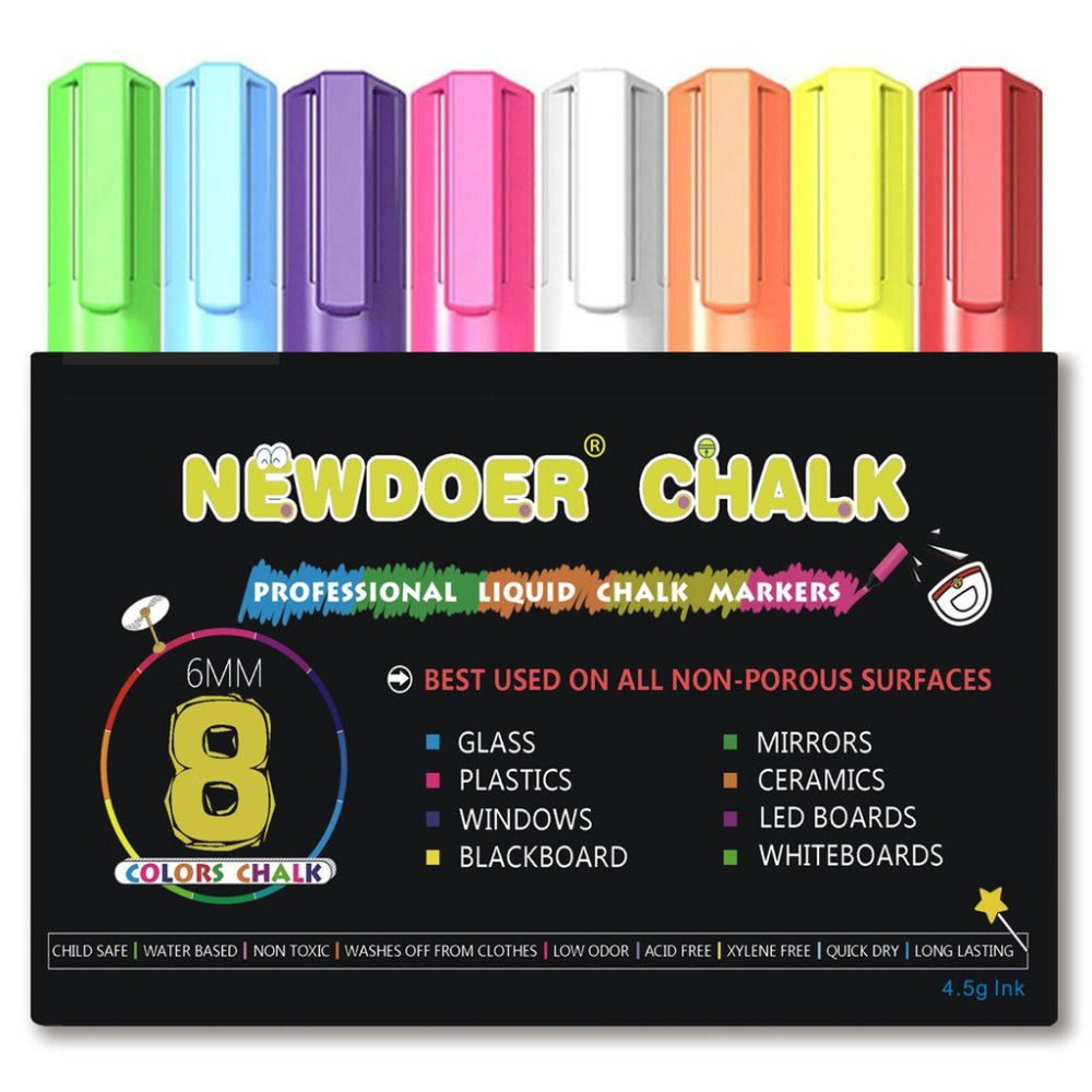 8 Color Liquid Chalk Markers - Bright Neon Liquid Chalk Premium Artist Quality Marker Pen Set