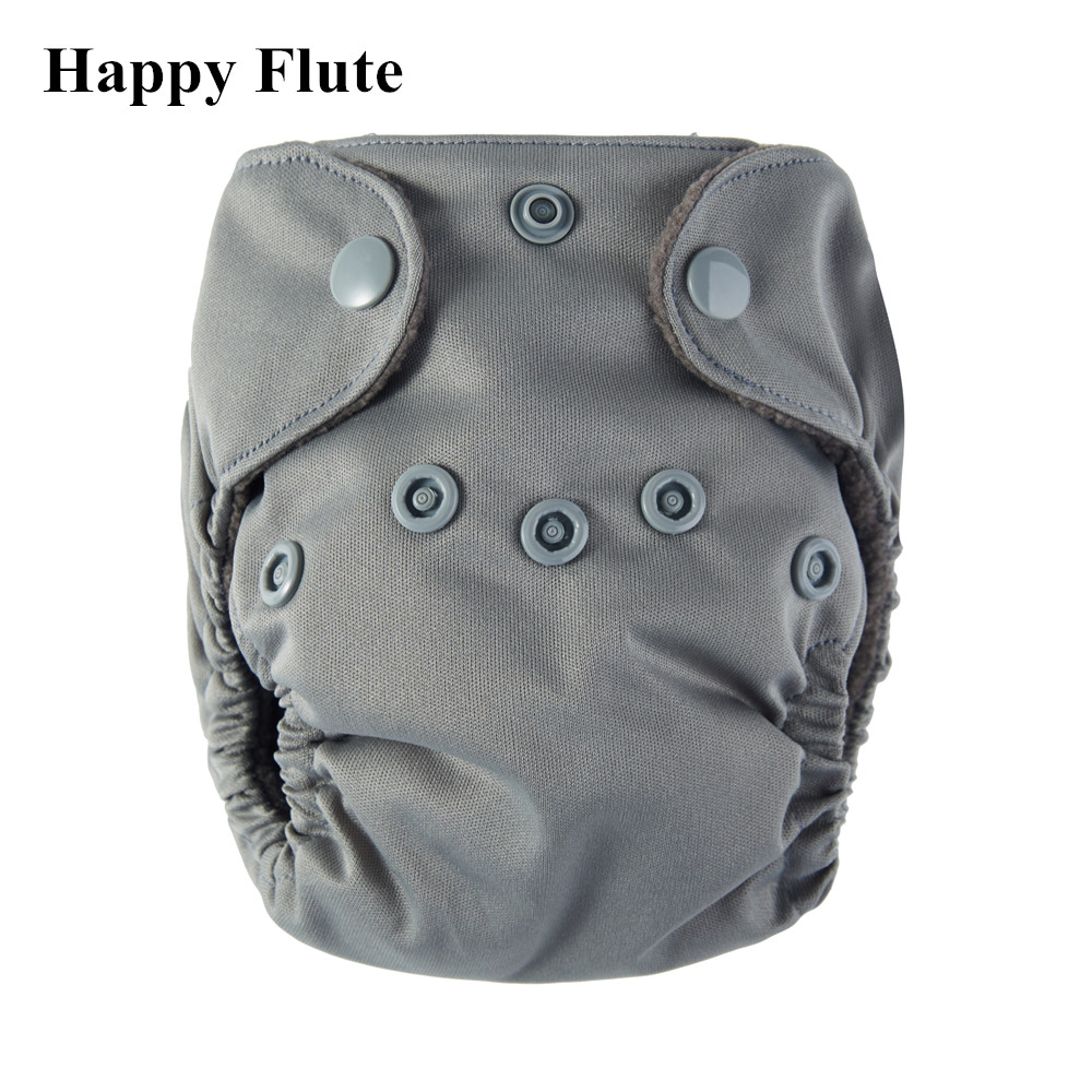 Happy Flute Bamboo Charcoal Double Gussets Newborn Diapers NB AIO Cloth Diaper Belly Button 8 Solid Colors Fit < 5KG Baby