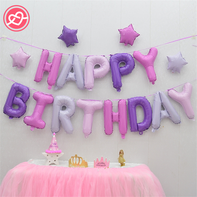 Free Shipping 1Set Letters Happy Birthday Balloons Cartoon Princess Star Cake Box Hello Kitty Unicorn Party Decoration