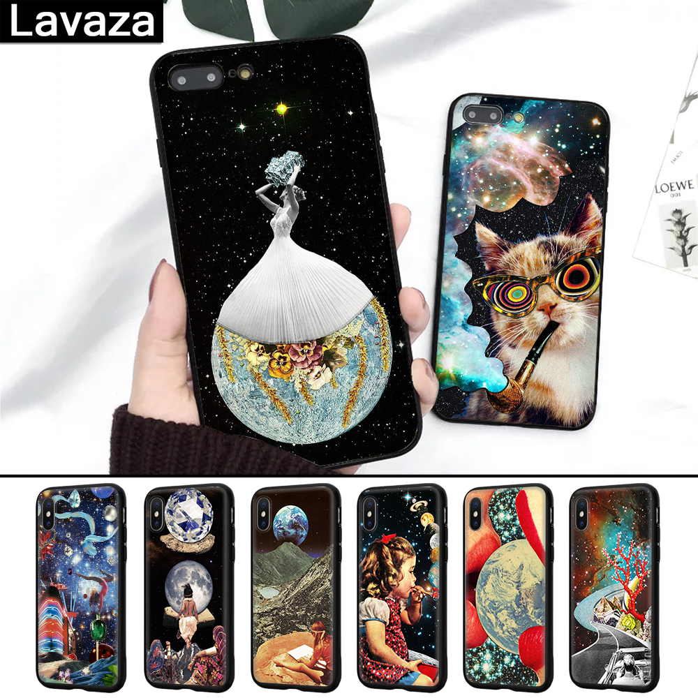 Lavaza Trippy Art aesthetic Space astronaut Silicone Case for iPhone 5 5S 6 6S 7 8 11 Pro Plus X XR  XS Max