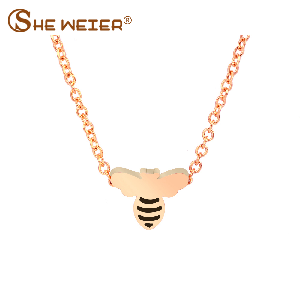 SHE WEIER Stainless Steel Necklace For Women Bee Rose Gold Necklace Pendants Jewelry Chocker Bijoux Femme Choker Collares Gold