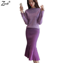 ZAWFL Autumn Winter 2 Piece Set Women O Neck Long Sleeve Knit Skirt Elegant Lady