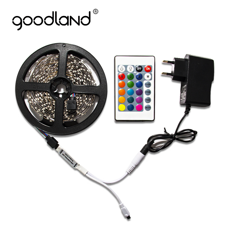 Goodland RGB LED Strip Light 2835 SMD 5M 60Leds/m Include Battery IR Remote Controller 12V 2A Power Adapter LED Tape rgb led strip 5m 300led motorcycle 3528 smd ir remote controller 2a power adapter flexible light led tape home decoration lamps