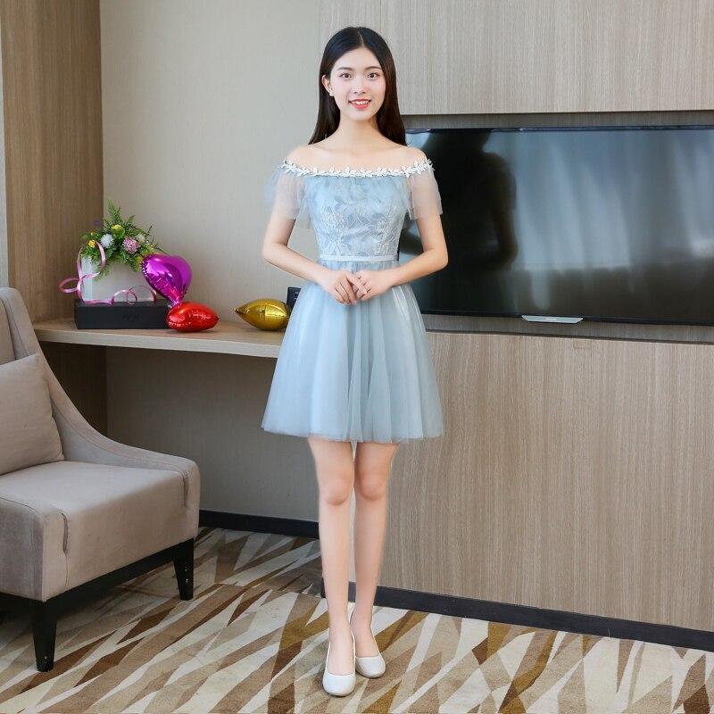 Blue Grey Colour Sleeveless  Dress Mini Wedding Party Dress  Bridesmaids Dresses