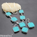 HERMOSA jewelry The best gift popular new fashion 925 sterling silver  Square shape turquoise necklace earrings Set HF197