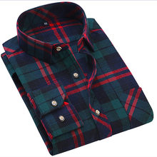 2018 Men's Long Sleeve luxury Plaid Shirt Men Slim fit Comfortable Soft Work Casual Flannel Shirts Camisa Social Masculina S-4XL(China)