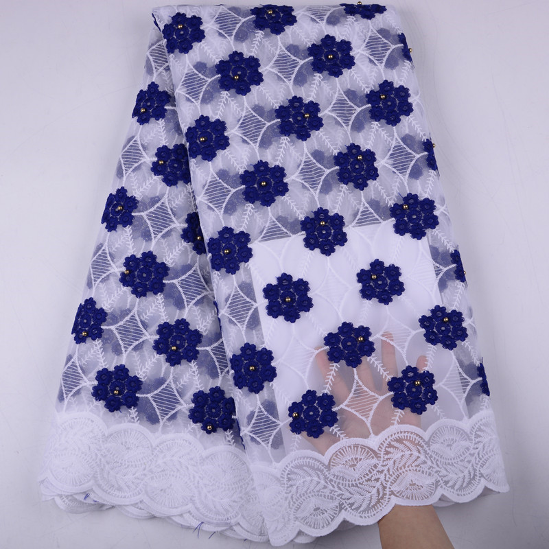 High Quality African 2019 Beads Voile Mesh Lace Fabric Embroidery French Tulle Lace Fabric For Nigerian