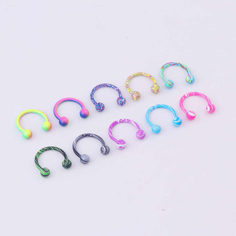 Sellsets corpo piercing jóias mix 10 pçs nova cor 16g aço inoxidável ferradura piercing bolas circulares barbells lábio nariz anéis