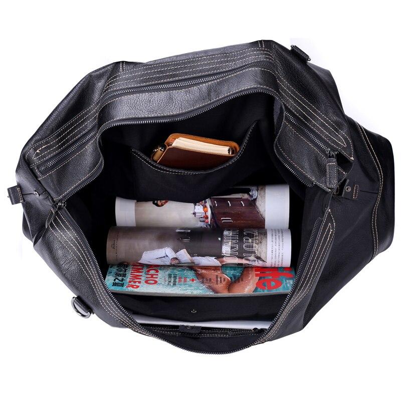 Meesii Mannen Lederen Reistas Grote Capaciteit Business Reistassen voor Mannen Zwarte Handtas - 4