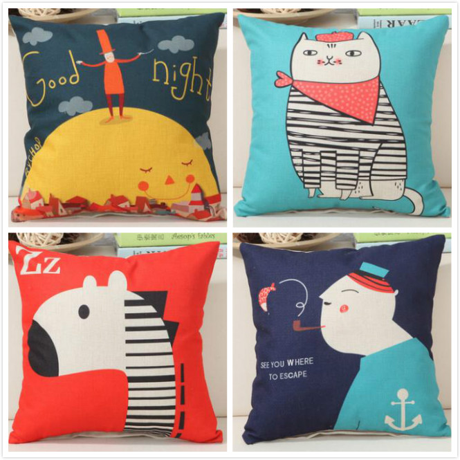 Cartoon animal cute child lovely printed linen cushion Cushion Cover covers sofa bed home room Dec square wholesale FG156