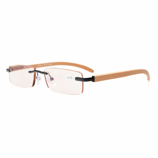 eb7911d983db CG1633 Eyekepper Amber Tinted Lenses Computer Small Lens Rimless In Wood  Temple Arms And Spring Hinges Reading Glasses Men Women