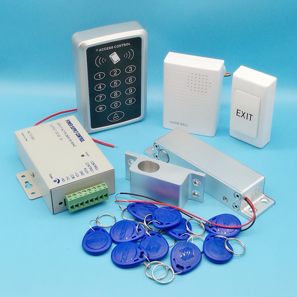 Best DIY Full Rfid Door Access Control System 125Khz Rfid Card Access Control System Kit + Surface Electric Bolt Lock +
