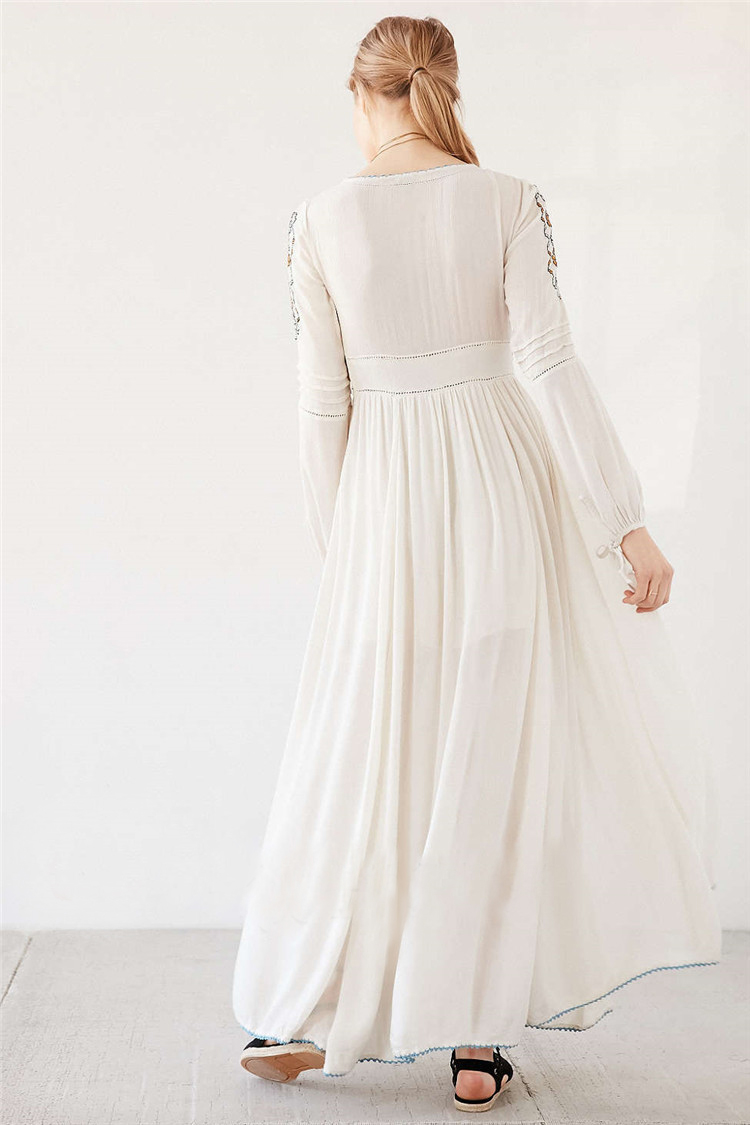 Sexy Party women Dress Floral White Maxi Dress cotton bohemian long sleeve  Embroidery V neck elegant Robe longue people Vestidos-in Dresses from  Women s ... 41a8029d6