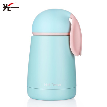 300ML Mini Portable Children Feeding Cup Vacuum Thermos Insulated Cute Rabbit Baby Cup Stainless Steel Kid Cup Belly Travel Mug 1