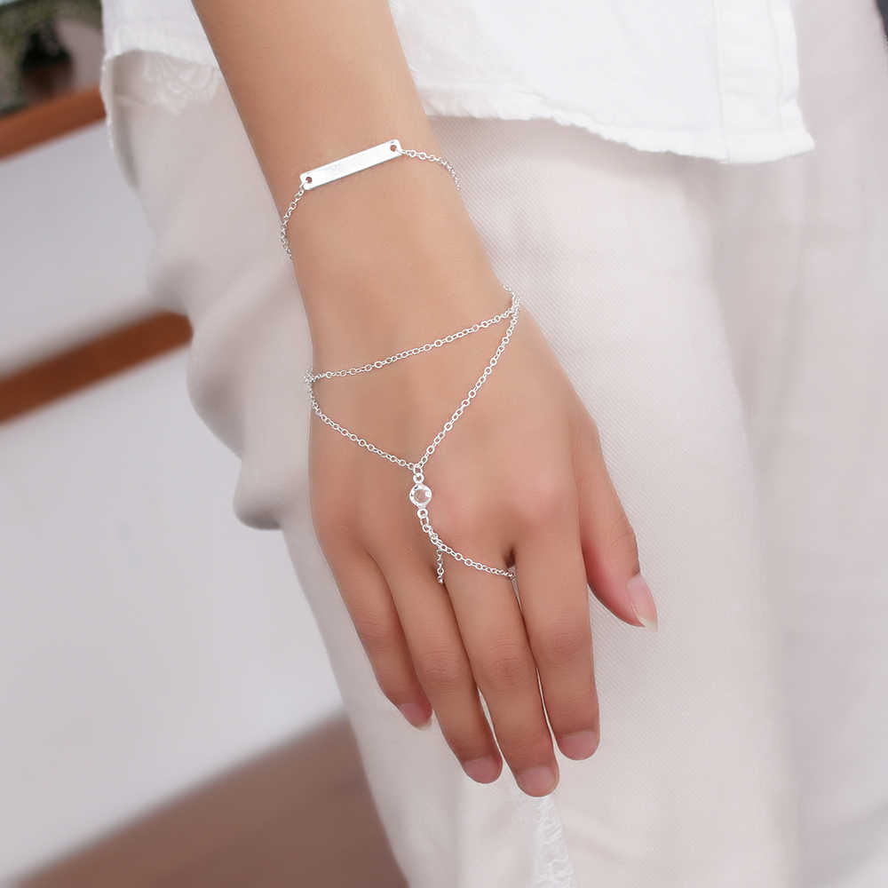 New Ouoular Fashion Beach Hand Chain Sexy Crystal Finger Bracelet Women Beach Chain Jewelry