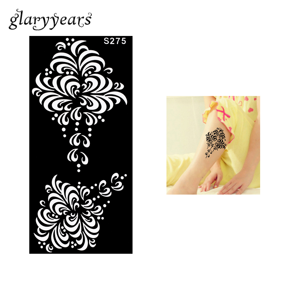 1 Piece Beauty Black Flower Henna Tattoo Stencil Painting Template Body Leg Art Design Henna Tattoo Stencil 2018 New Arrive S275
