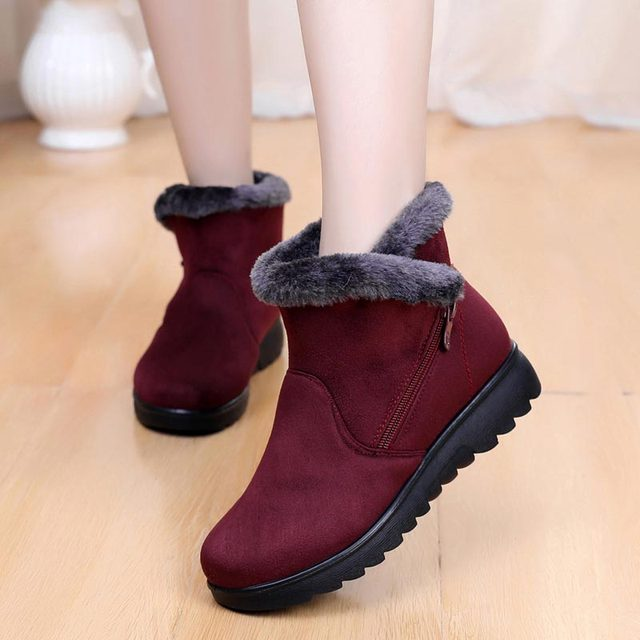 ea721a6cc35 New ladies shoes winter boots 2018 fashion zipper women ankle boots female  shoes flat keep warm cozy snow boots women shoes