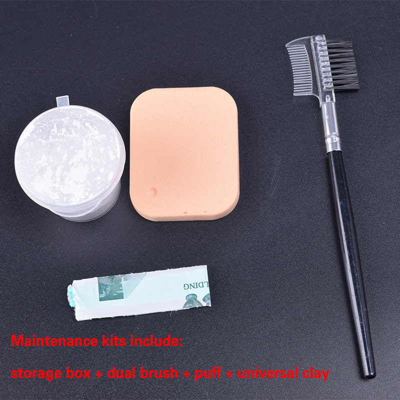 1/6 Scale Dusting Flour Set Protection Care Maintenance Tools Dual Brush+Puff+Universal Clay Fit 12