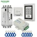 RAYKUBE FRID комплект контроля доступа Электрический врезной замок + металлическая кнопочная кнопка выхода блок питания дверь безопасности
