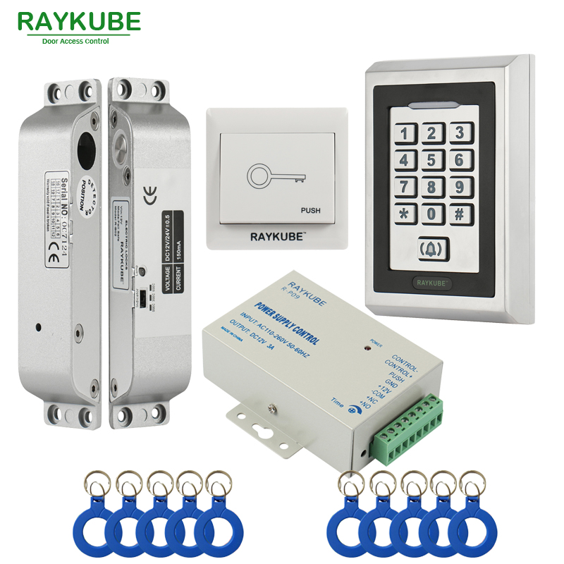 RAYKUBE FRID Access Control Kit Electric Mortise Lock + Metal Keypad Exit Button Power Supply Door Security fingerprint door access control security system kit set with electric control lock power supply door exit button for 1000 user