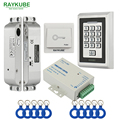RAYKUBE FRID Access Control Kit Electric Mortise Lock + Metal Keypad Exit Button Power Supply Door Security