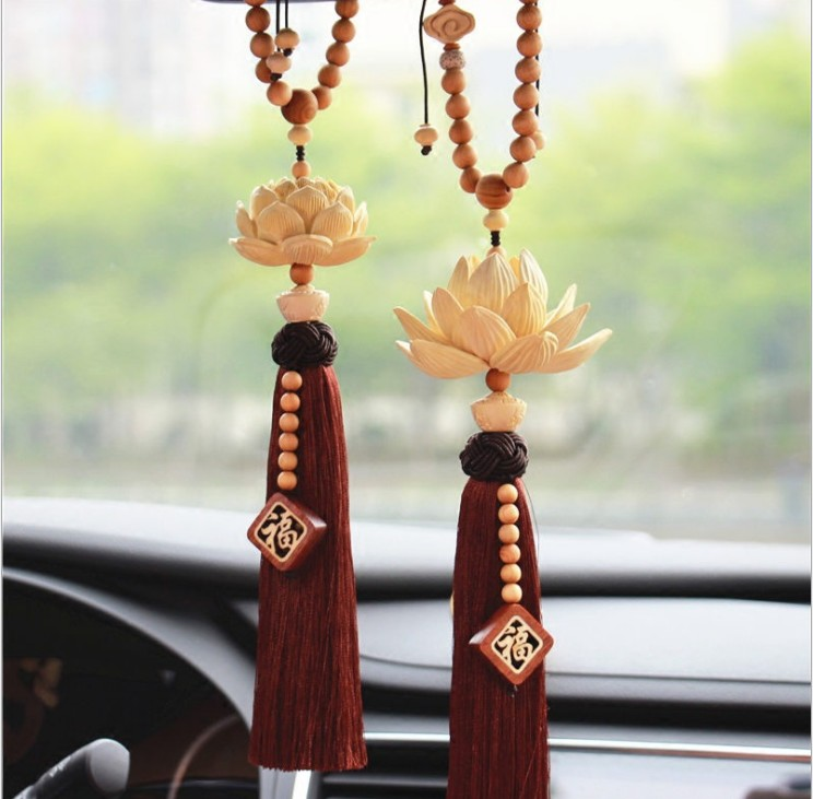 Car pendant creative large lotus ornaments high end car accessories boxwood solid three dimensional lotus mirror mirror pendant in Ornaments from Automobiles Motorcycles