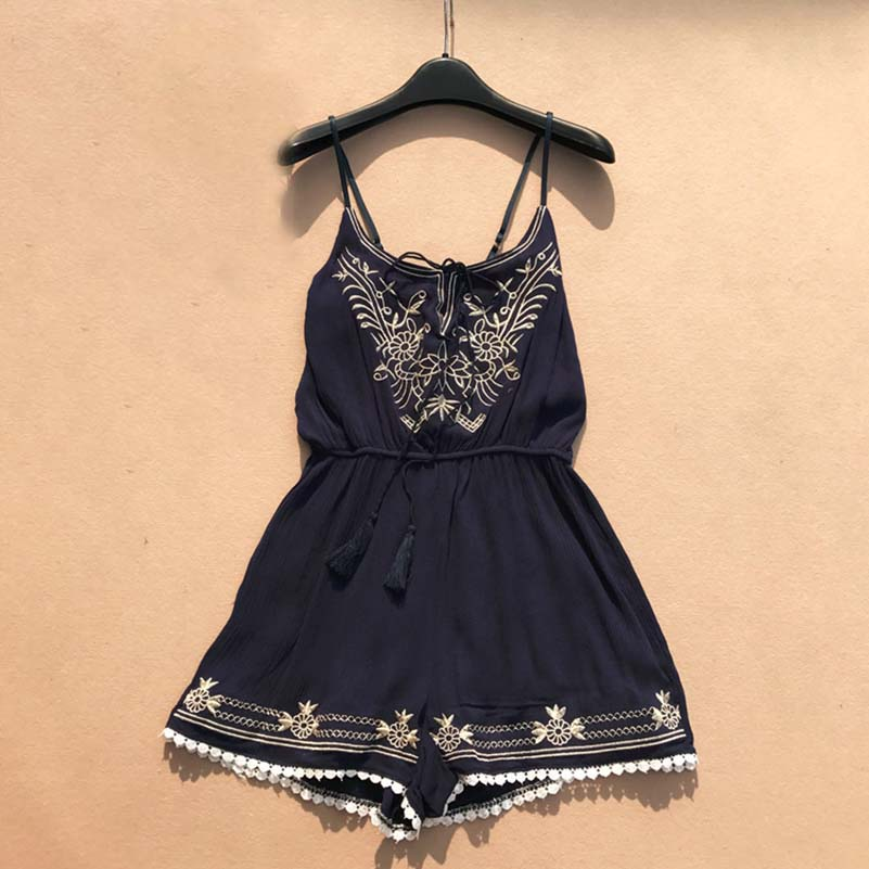 2019 Summer Clothes Women Fashion Sexy V neck Embroidery Jumpsuit Female Lace up Wide Legs Bodysuit Beach Style Womens Rompers in Rompers from Women 39 s Clothing