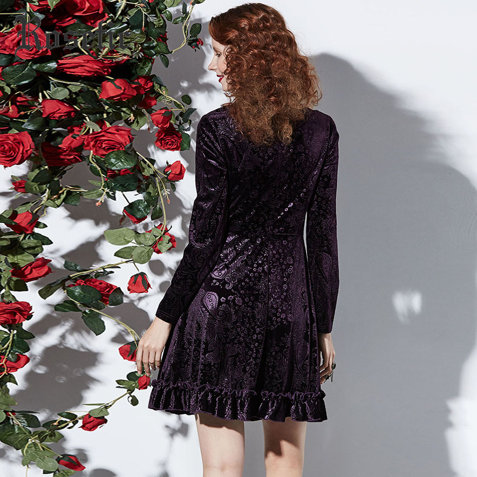 5279f8ee83df0 Women Gothic Dress Fall Dark Purple 3D Floral Print Velvet A Line Pleated  Goth mini Dress Female Elegant Party Goth Dresses-in Dresses from Women's  Clothing ...
