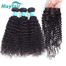 Mayfair Human Hair Bundles With Closure Curly Bundles With Closure Brazilian Hair Weave Bundles Free Part Remy Hair Double Weft